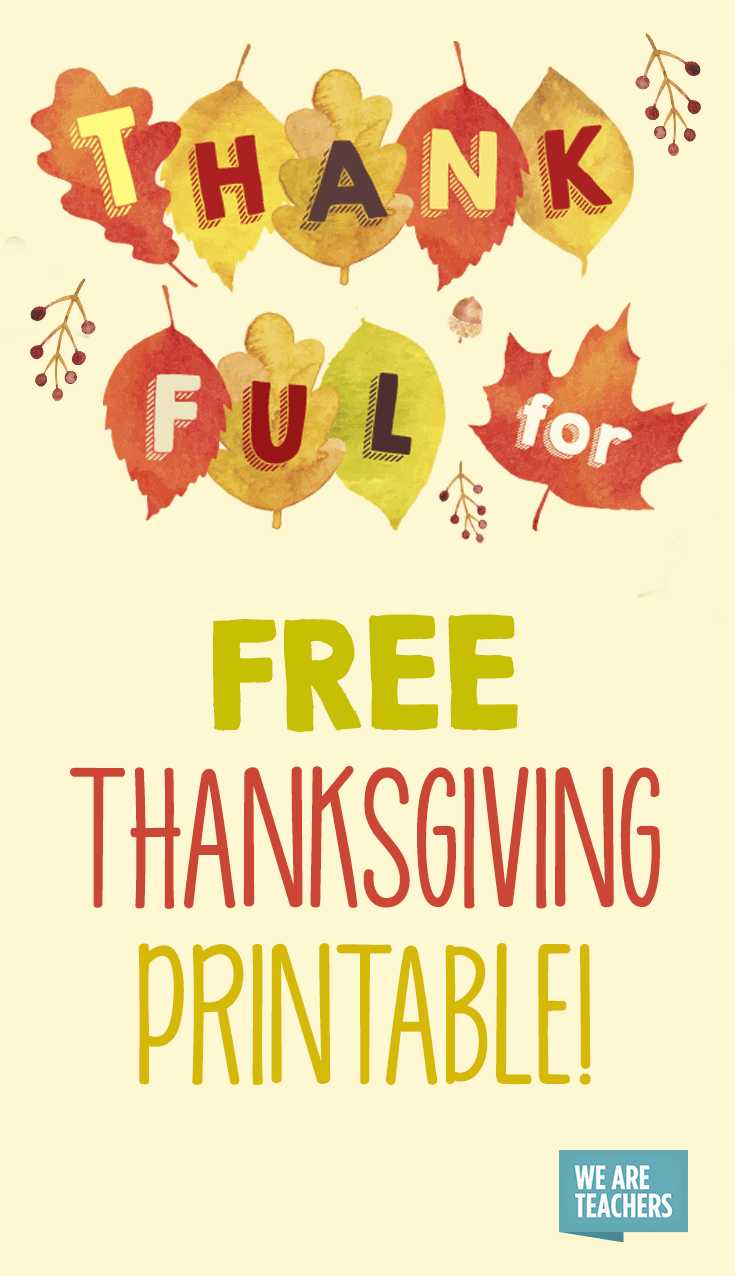 Free Thanksgiving Printable Banner for the Classroom ...