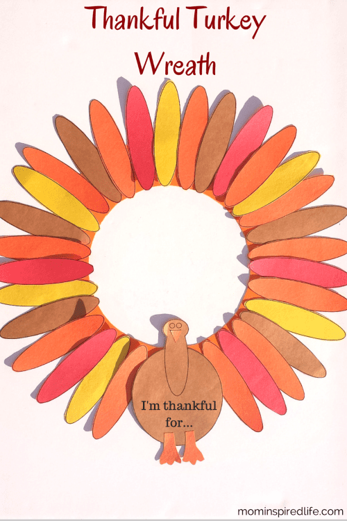 Thankful turkey wreath with colored paper -- Gratitude Activities for Kids