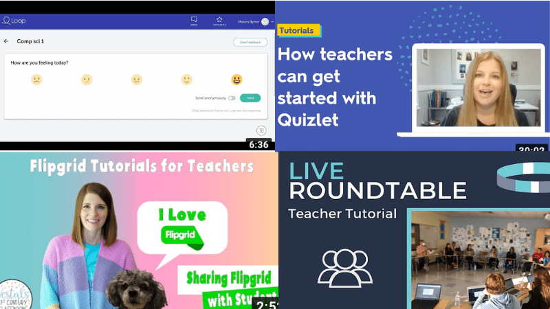A collage of four tutorials for teachers that feature the best tech tools for collaboration.