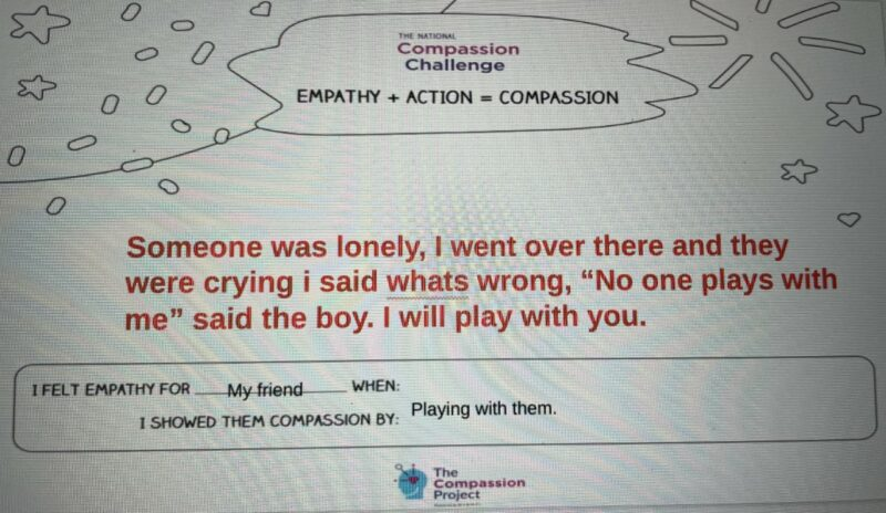 Student response to an assignment from the Compassion Project
