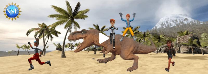 Animated dinosaur chasing children -- National Geographic Education