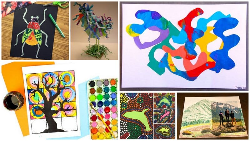Collage of Third Grade Art Projects