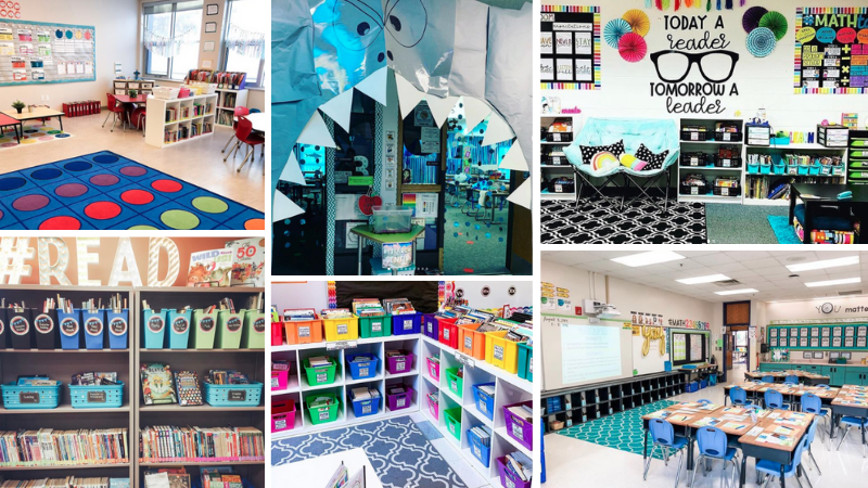Four Third Grade Classroom Ideas including shark themed and colorful cubbies.