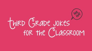 """A pink background with white cursive words that read, """"Third Grade Jokes for the Classroom."""""""