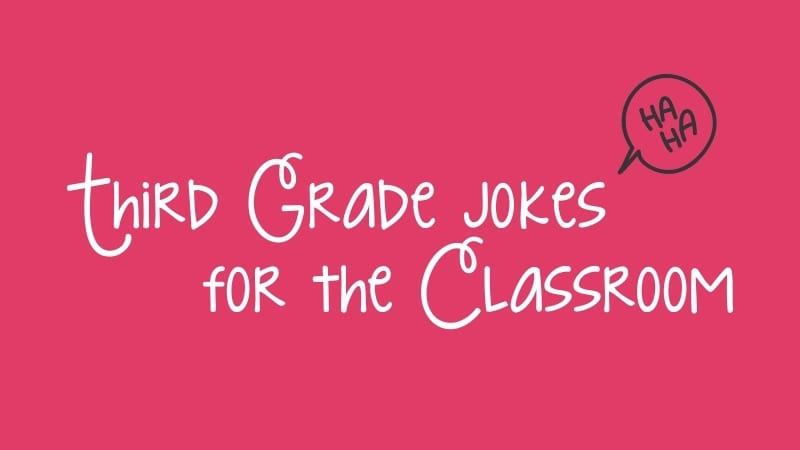 "A pink background with white cursive words that read, ""Third Grade Jokes for the Classroom."""