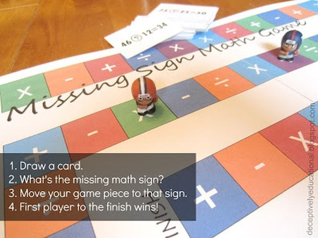 Missing Sign Math Game with operation signs in each square and football men markers (Third Grade Math Games)