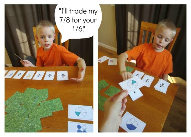 Student with fraction cards and a speech bubble saying I'll trade my 7/8 for your 1/6. (Third Grade Math Games)