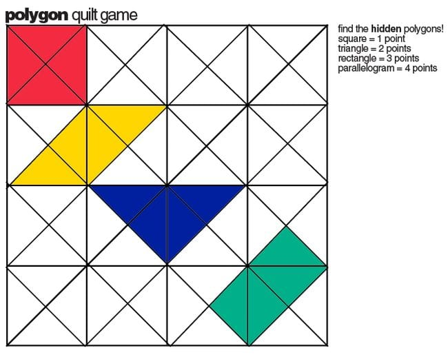 Polygon quilt game with some squares colored and text Find the hidden polygons!