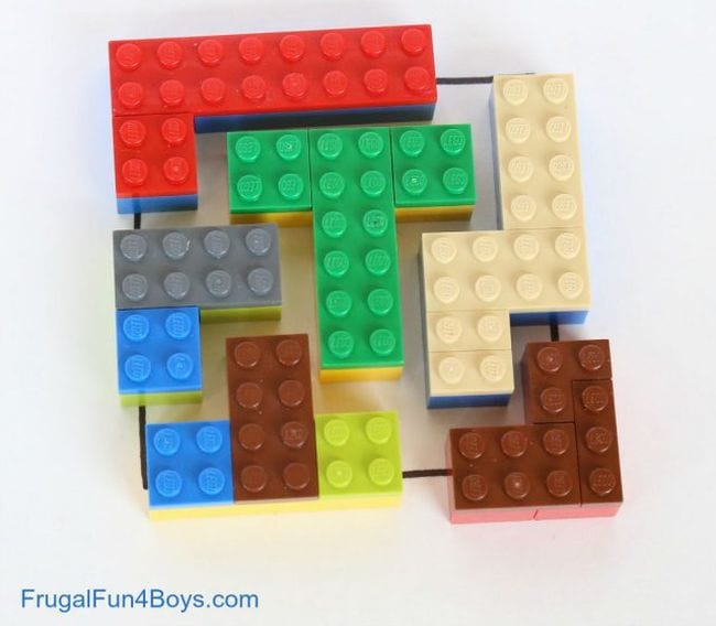 LEGO bricks in a variety of shapes making up a square