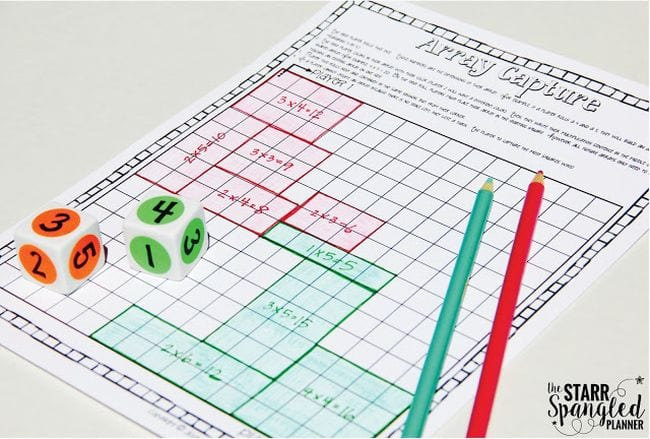 Array Capture worksheet with dice and colored pencils