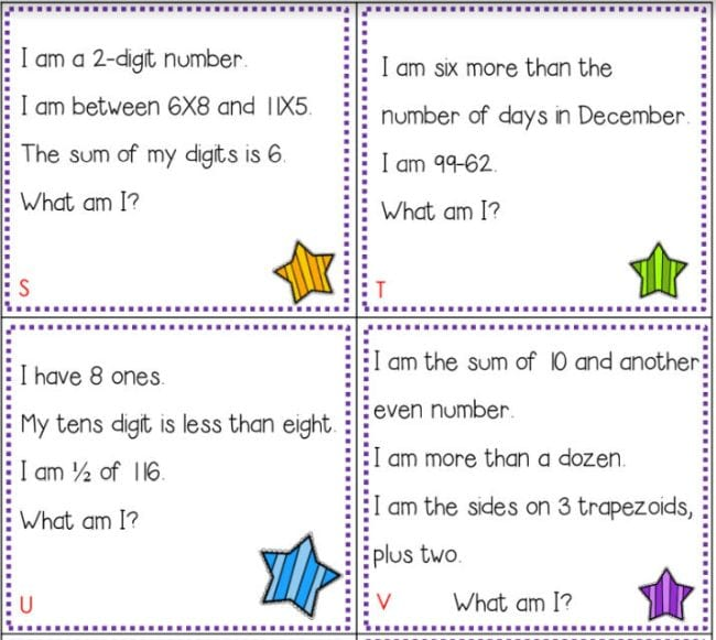 Four printable math riddle cards with stars and dotted borders
