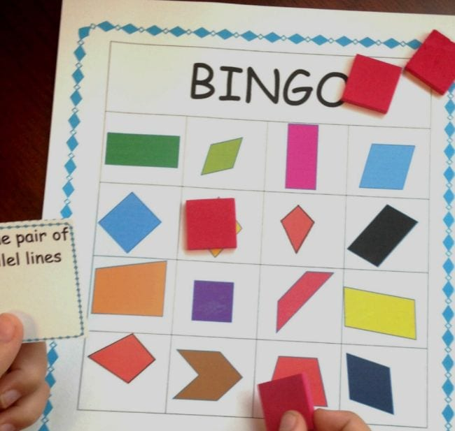 Bingo game with quadrilateral blocks (Third Grade Math Game)