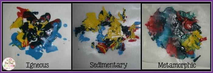 Collage of crayon shavings, labeled igneous, sedimentary, and metamorphic
