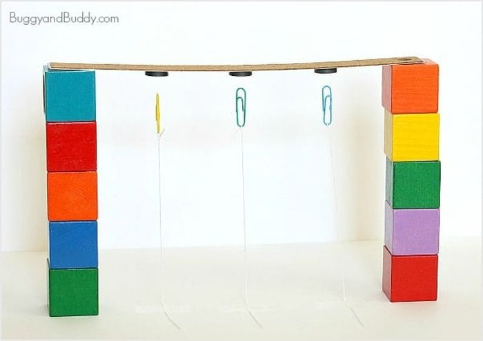 Cardboard strip supported by colorful blocks, with paper clips suspended from magnets underneath (Third Grade Science)