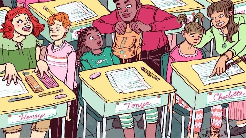 kids at desks with parents taking care of them