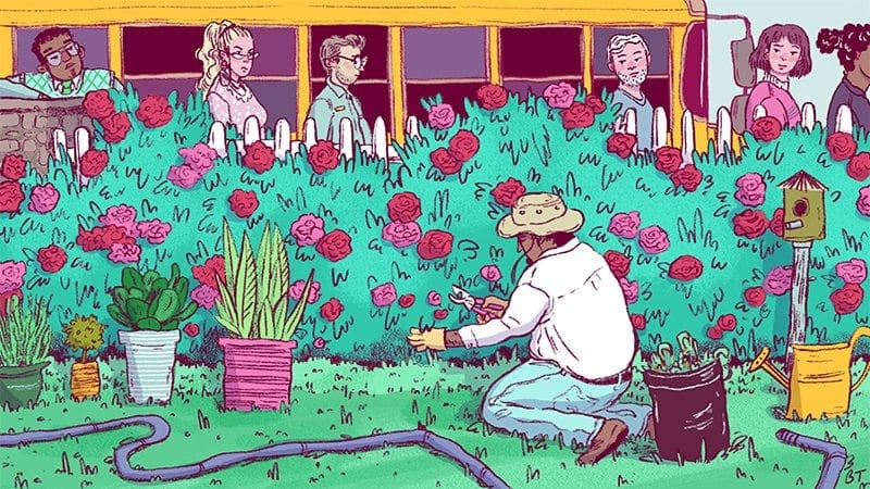 illustration of rose gardener being stared at by angry teachers over a bush