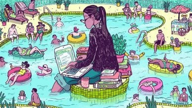 Illustration of a woman in a suit doing work in a swimming pool