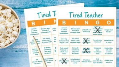 Tired Teacher Bingo