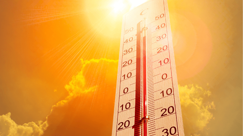 Thermometer showing hot classroom