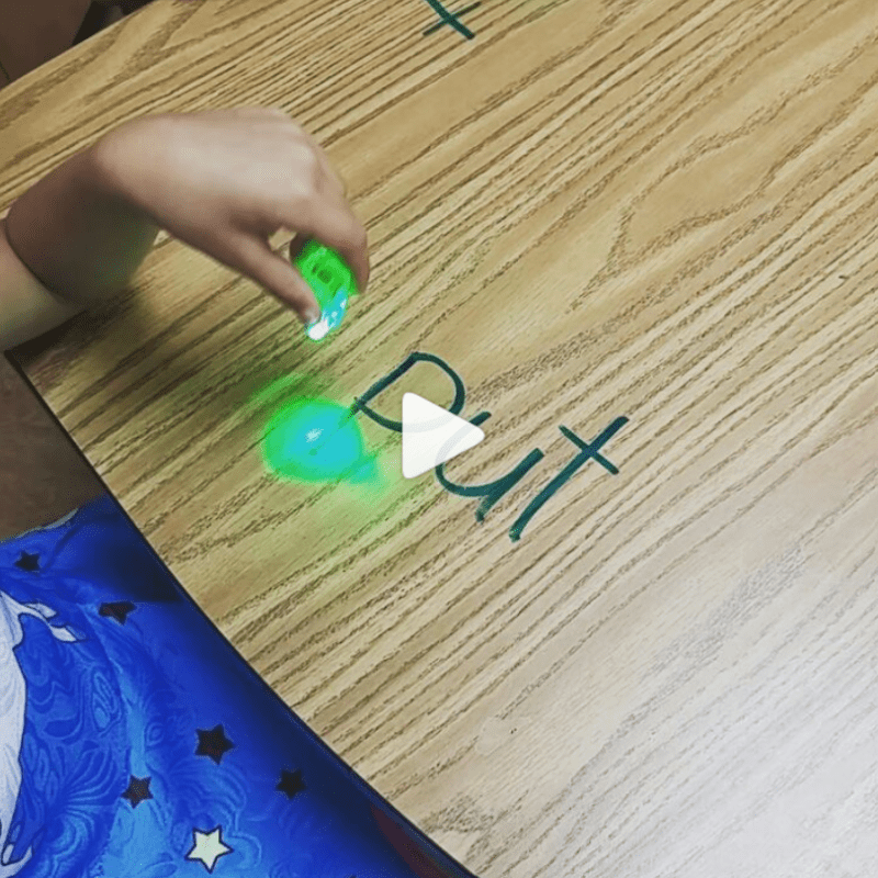 Trace words with flashlights