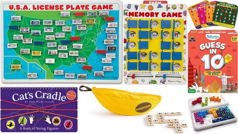 Collage of Travel Games for Kids