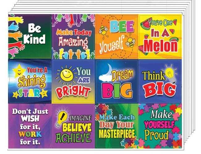 Blue STICKERS Decoration Fun Kids School Motivation Make Yourself Proud