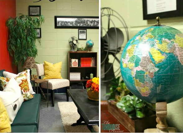 a corner view of an office with colorful accent pillows and a large tree in the corner. Also, a close up of a globe on top of a bookcase.