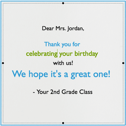 Sample digital greeting card to teach typing skills in the classroom.