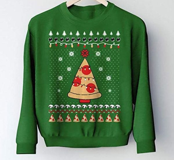 Christmas sweater with a slice of pizza lit up with Christmas lights like a tree.