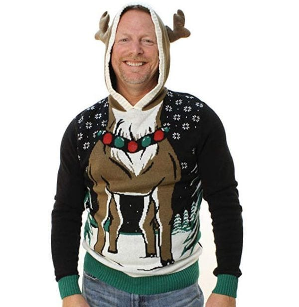 Christmas sweater with the body of a Reindeer and a hood with horns.