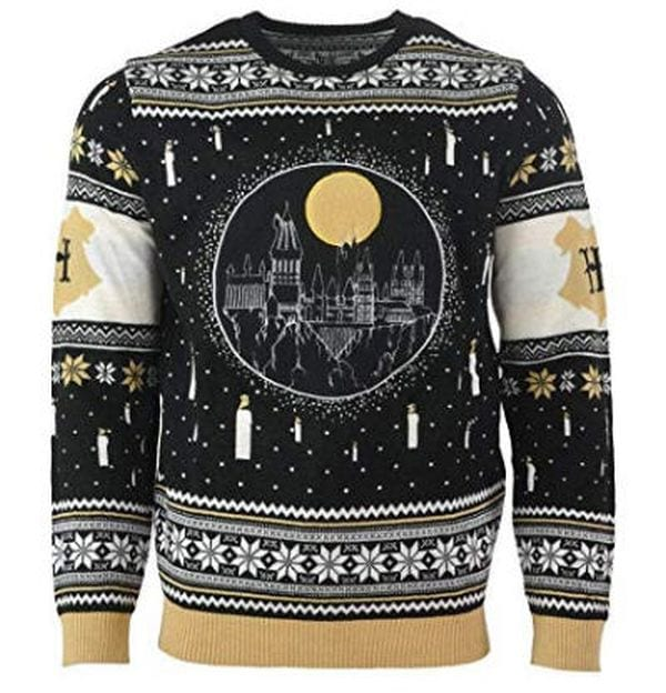 Christmas sweater with a Hogwarts silhouette.