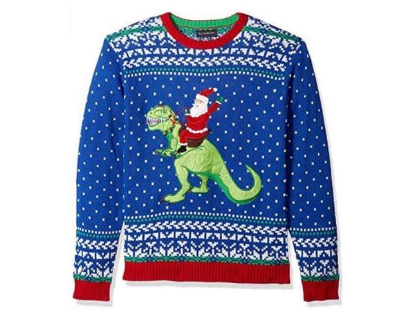 Christmas sweater with Santa riding a dinosaur.
