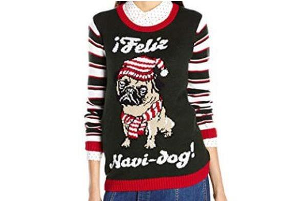 "Christmas sweater with a pug and the phrase ""Feliz Navi-dog"""