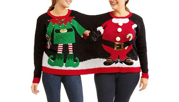 Christmas sweater for two people to share.