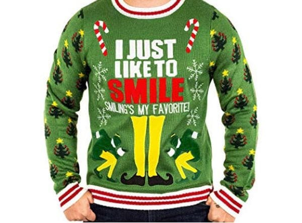 """Christmas sweater with the phrase """"I just like to smile. Smiling's my favorite!"""""""