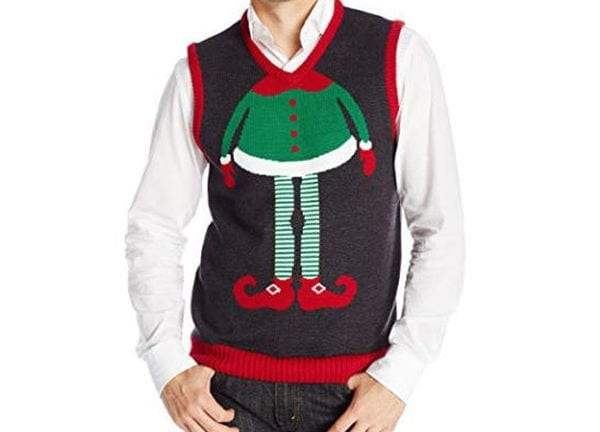 Christmas vest with the body of an elf.