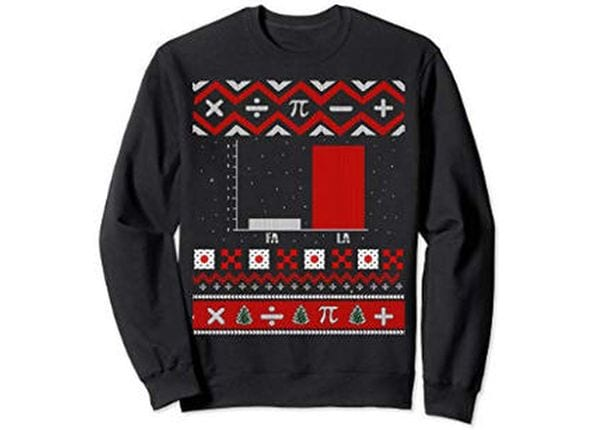 Christmas sweater with a bar graph.