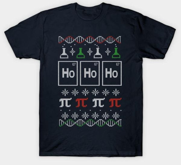 Christmas shirt with scientific element graphics.