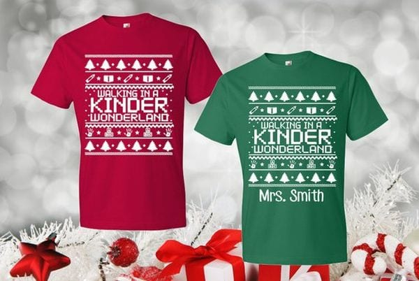 Christmas shirt that says Walking in a Kinder Wonderland