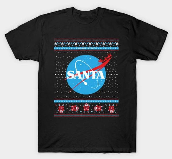 "Christmas shirt with the graphic NASA with the word ""Santa"""