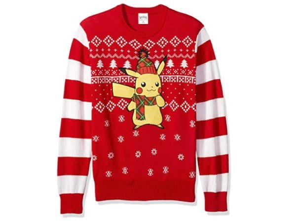 Christmas sweater with Pikachu wearing a beanie and a scarf.