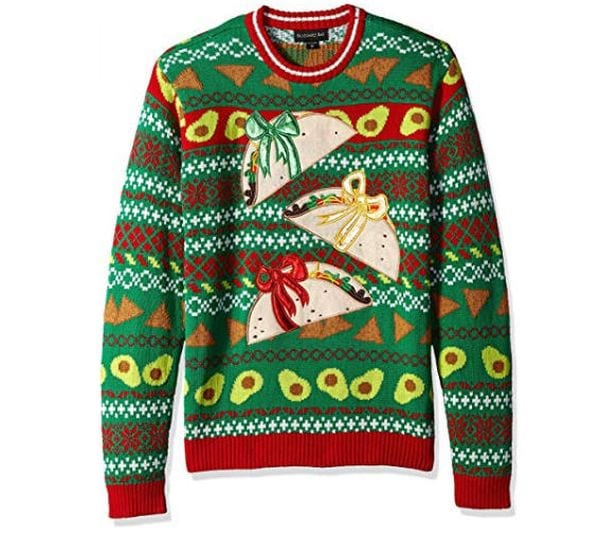 Christmas sweater with tacos wrapped in bows.