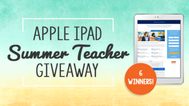 Apple iPad Summer Teacher Giveaway; 6 Winners; image of ipad on colorful background - Win an iPad!