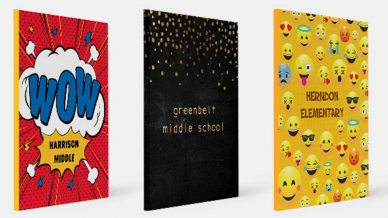 Three yearbook covers