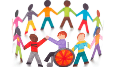 Colorful diverse paper dolls, including child in wheelchair, holding hands in a circle - Inclusion Strategies