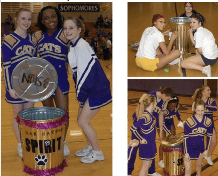 A collage of three pictures that show student cheerleaders using a spirit can.
