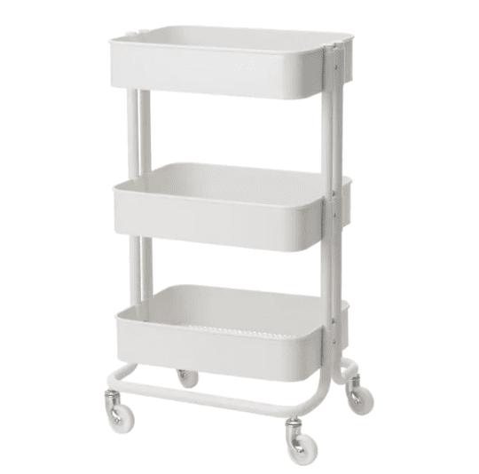 White utility cart on wheels
