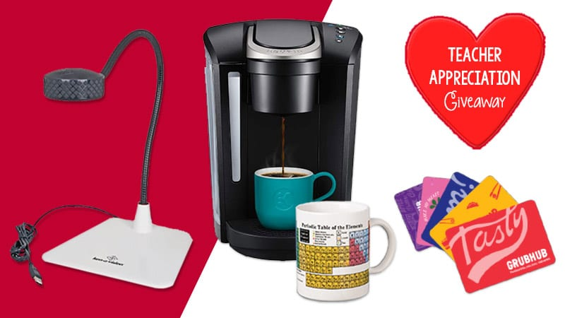 online teaching survival kit giveaway items: coffee maker, mug, gift cards, document camera