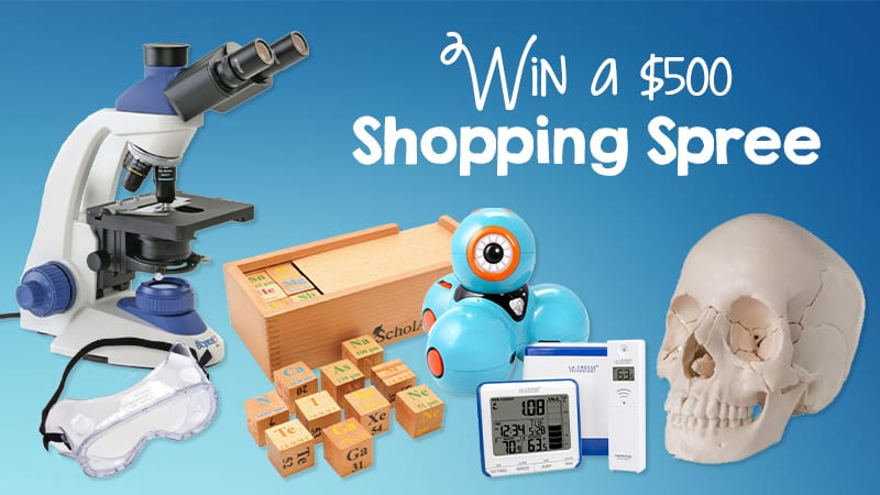 microscope, puzzle, robot, skull model, shopping spree for science supplies
