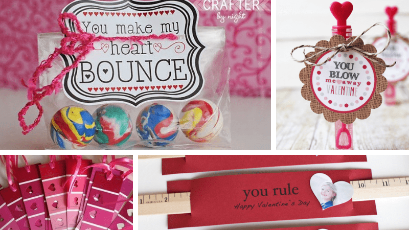 """valentines for students: """"You Make My Heart Bounce"""" with boucy balls; """"You Blow Me Away"""" with bubble wands; """"You Rule Valentine"""" with rulers; red and pink paint strip book marks"""